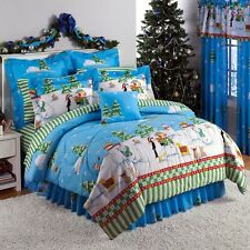 NEW 8 pc Snowman Christmas Snow Winter Comforter Sheet Set Queen