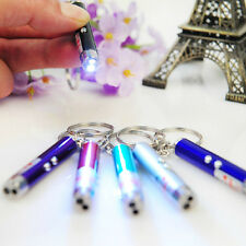 2In1 LED Light Red Laser Pointer Pen Keychain Cat Toy Ultraviolet Money Detector