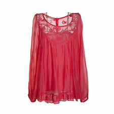Ladies Lagenlook Italian Gorgeous Coral Silk Chiffon & Lace One SizeTunic/Blouse