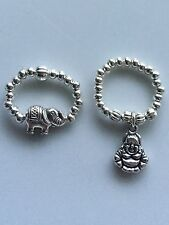 Lucky Buddha & Elephant Silver  Bead Stretch Elastic Stacking Finger Thumb Rings