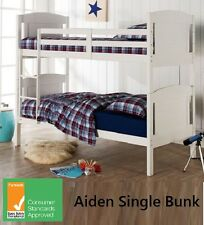 AIDEN SINGLE BUNK BED - HARDWOOD TIMBER - IN WHITE