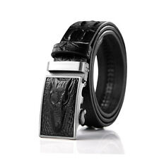 Men Real Leather Crocodile Embossed Dress Belt Automatic Buckle Western Classic