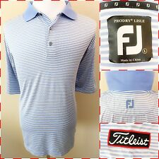 FOOTJOY TITLEIST Men's Blue & White Striped Polo Shirt Sleeve Patch SIZE L