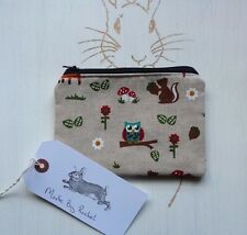 Handmade Coin Purse Makeup Bag Owl Fox Squirrel Woodland Fabric Cosmetic Pouch