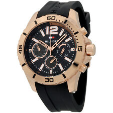 Tommy Hilfiger Black Dial Black Silicone Strap Men's Watch 1791145