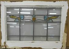 """MID SIZED OLD ENGLISH LEADED STAINED GLASS WINDOW Nice Floral Band 24"""" x 17.25"""""""