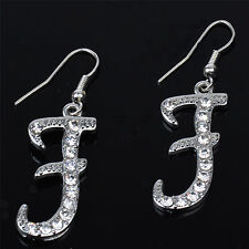 "Cute New Silver Forever 21 Initial ""F"" Fashion Jewelry Hook Dangle Drop Earrings"