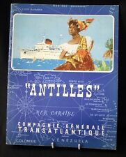 """CGT FRENCH LINE SS """"ANTILLES"""" French Text Brochure Booklet"""