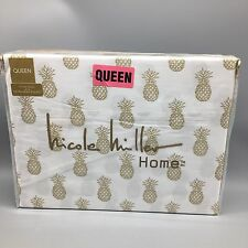 4pc Nicole Miller Gold Pineapple QUEEN Bed Sheet Set Golden 100% Cotton Deep NEW