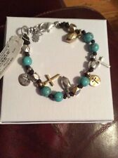 $35 Lucky Brand Two-Tone Beaded Leather Cross Charm Bracelet
