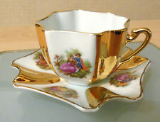 LIMOGES FINE PORCELLANA Tazza & Piattino DUO -- FRAGONARD LOVE Scene con inserti oro