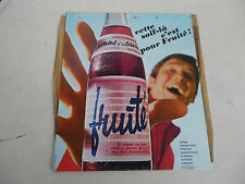 PLAQUE  EVIAN  FRUITE / TOLE  PEINTE CIRCA 1963 / ADVERTISING PLATE DRINKS FRUIT