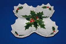 Nice Vintage Lefton White Holly Christmas Divided Candy Snack Dish