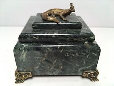Marble & Brass Ring Trinket Box Dragon Lizard Accent Jewelry Home Decor
