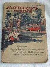 Vintage 1930s Motoring Hiking Auto Map UK England Mansfield Sheffield Yorshire