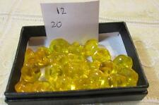 SMALL BUTTONS LOT 12 Hexag, 20 HEXAGONAL YELLOW 1.1 cm Vintage Czech