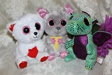 TY Beanie BOOS CUDDLY BEAR CINDER SQUEAKER (6 inch)(LOT of 3) No hang tags