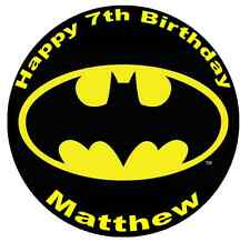 "Batman Logo Personalised Cake Topper 7.5"" Edible Wafer Paper Birthday Party"