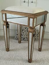 Venetian Gold Mirrored Dressing Table Stool, Bedroom Stool, New