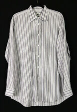 HERMES White & Lavender Striped Cotton Men's Dress Shirt 17 43