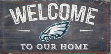 """Philadelphia Eagles Welcome to our Home Wood Sign  NEW 12"""" x 6""""  Decoration Gift"""