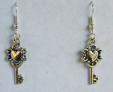 """The Key to My Heart"" Earrings. Tibetan Silver NEW by Slave Violet Jewelry"