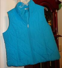 L Ladies Women SJB Active Vest Lined Quilted Blue Puffer Insulated Zip Pockets