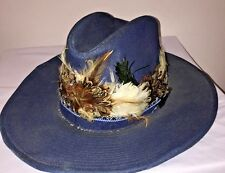 YR Vintage Men's VTG Denim Jean Feather Cowboy Hat Pimp Western UNIQUE RARE Blue