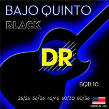 DR BQB-10 Bajo Quinto Black Coated Round Core Loop End 10 String Set