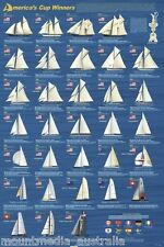 AMERICA'S CUP WINNERS (LAMINATED) POSTER (61x91cm) SAILING BOATS YATCH DIAGRAM