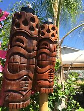 Hang Loose Flame Head Tiki torch set bar mug Smokin Tikis Hawaii Seconds n18fx