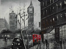 london large oil painting canvas cityscape British black white red art original