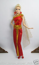 HANDMADE RED GOLD VINTAGE THAI OUTFIT DRESS FOR BARBIE Muse Doll SILKSTONE FR #2