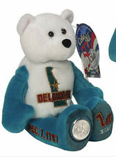 "#1 Delaware State Quarter Coin Plush Stuffed 9""  Bear Limited Treasures"