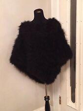 Coat Cape Jacket 100% Genuine  Fur Feathers Cape O/S
