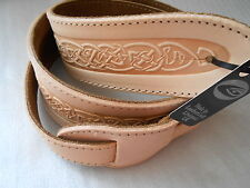 UK MADE CELTIC EMBOSSED LIGHT TAN  REAL LEATHER ACOUSTIC ELECTRIC GUITAR STRAP
