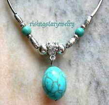 "Blue Turquoise""Dragon Egg"" Multi-Shape Tibet Silver Bead Choker Fashion Necklace"