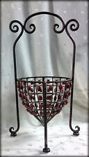 "Open Metal Basket Covered in Rusty Red Wooden Beads  - 18""T x 10.5 Diameter"