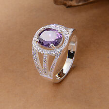Jewelry Fashion  925 silver Amethyst ring size 8 gift for women N392-8