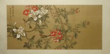 "Magnolia camellia qingniao - Chinese painting on silk 40""x20"" i33½""x16"" FL058"