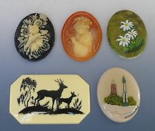 Jewelry Supplies 2 Handpainted Oval Cabochons 2 Raised Cameos 1 Deer Cab Beads