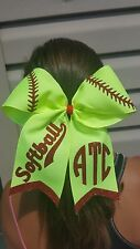 Awesome Softball Yellow Personalized Cheer Style Hair Bow w/Red Glitter Tails
