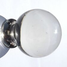 Crystal Clear smooth  round  glass door knob CHROME BASE (single) FREE POSTAGE