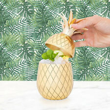 Pineapple Tumbler Brass 16oz Art Deco Cocktail Holder with Straw Metallic Gold
