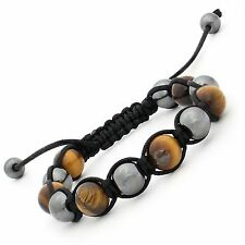 tiger's Eye & Hematite Gemstone Beads Adjustable Shamballa Bracelet Unisex