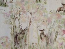 "Voyage Fabric 100% Linen ""Enchanted Forest"" Remnant 66cm Wide x 71cm (10)"