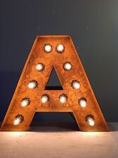 "New Rustic Metal Letter A Light Marquee: Sign Wall Decoration 12"" Vintage"