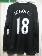 BNWT SCHOLES #18 Manchester United 2009/2010 Away Long-Sleeves Shirt Jersey XL