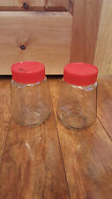 VINTAGE SET of 2 ANCHOR HOCKING MAXIM COFFEE GLASS CANISTER JAR RED LID