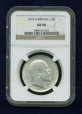 GREAT BRITAIN EDWARD VII 1910 HALF-CROWN ALMOST UNCIRCULATED CERTIFIED NGC AU-50